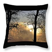 Trees On Misty Morning Throw Pillow