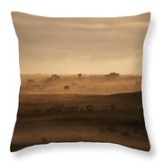 Trees Scattered Over The Hills In The Throw Pillow