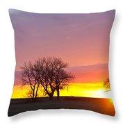 Trees Watching The Sunrise Panorama View Throw Pillow