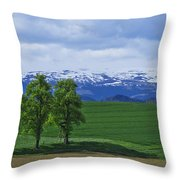 Trees With Mountains Throw Pillow