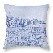 Trenby Bay Blueprint Throw Pillow
