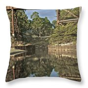 Trestle Over Reflecting Water Throw Pillow