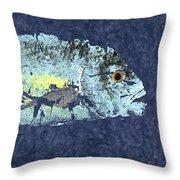 Gyotaku Trevally Throw Pillow