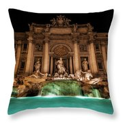 Trevi Fountain Illuminated At Nighttime Throw Pillow