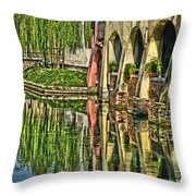 Treviso Canal And Reflections Throw Pillow