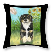Tri Colored Dachsund Mix Dog Canine Pets Animal Art Throw Pillow
