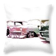 Tri Five Chevys Throw Pillow