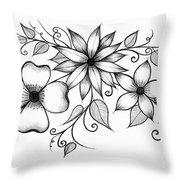 Tri-floral Sketch Throw Pillow