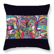 Tribal Mosaic Cat Garden Throw Pillow