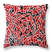 Tribal On Canvas - Black And Red Throw Pillow