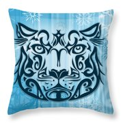 Tribal Tattoo Design Illustration Poster Of Snow Leopard Throw Pillow