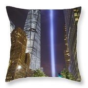 Tribute In Light And Freedom Tower Throw Pillow