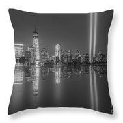 Tribute In Light Reflections Bw Throw Pillow