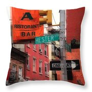 Tribute To Little Italy - Hester And Mulberry Sts - N Y Throw Pillow