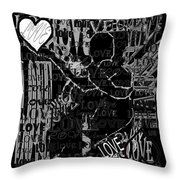 Tribute To Love In Black Throw Pillow