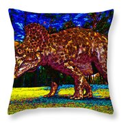Triceratops Painting Throw Pillow