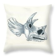 Tricerotops Skull Throw Pillow