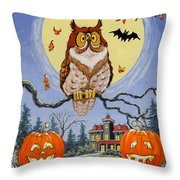 Trick Or Treat Street Throw Pillow by Richard De Wolfe