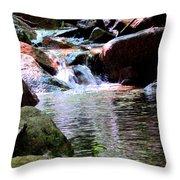 Trickle Down The Mountain Throw Pillow