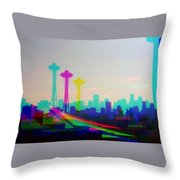 Tricolor Seattle Space Needle Throw Pillow