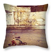 Tricycle In Abandoned Room Throw Pillow
