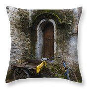 Tricycle Parked In Alleyway Throw Pillow