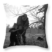Trimming A Tree Throw Pillow