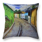 Trinidad Cuba Original Oil Painting 16x12in Throw Pillow