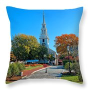 Trinity Church In Queen Anne Square In Newport Throw Pillow