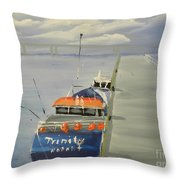 Trinity Long Line Fishing Trawler At San Remo  Throw Pillow