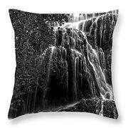 Trinity Waterfall In Monasterio De Piedra Park Bw Throw Pillow