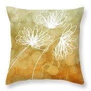 Trio Abstract Flower Art  Throw Pillow