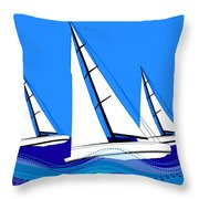 Trio Of Sailboats Throw Pillow