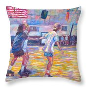 Trios At Dominion Skating Rink Throw Pillow