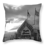Triple Crown Diner In Black And White Throw Pillow