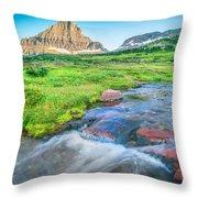 Triple Falls Stream Glacier National Park Throw Pillow