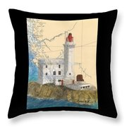 Triple Islands Lighthouse Bc Canada Chart Art Throw Pillow