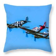 Triple Mustangs Throw Pillow