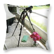 Tripod And Roses On Floor Throw Pillow