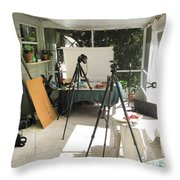 Tripods And Set Up Throw Pillow