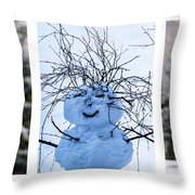 Triptych - Christmas Trees And Snowman - Featured 3 Throw Pillow