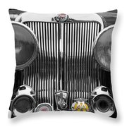 Triumph Roadster Front End Selective Color Throw Pillow