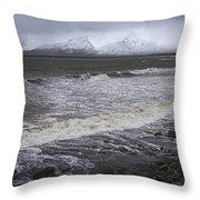 Trollaskagi Black Sand Beach Throw Pillow