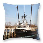 Troller At Dock Throw Pillow