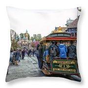 Trolley Car Main Street Disneyland 01 Throw Pillow