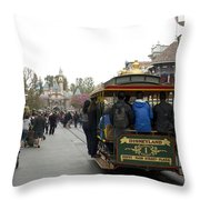 Trolley Car Main Street Disneyland 03 Throw Pillow