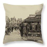 Trolley Car Main Street Disneyland Heirloom Throw Pillow