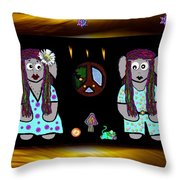 Trolls In Hippie Wood Throw Pillow