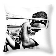 Trombone Man Bw Throw Pillow