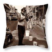Trombone Man On Royal St. New Orleans Throw Pillow